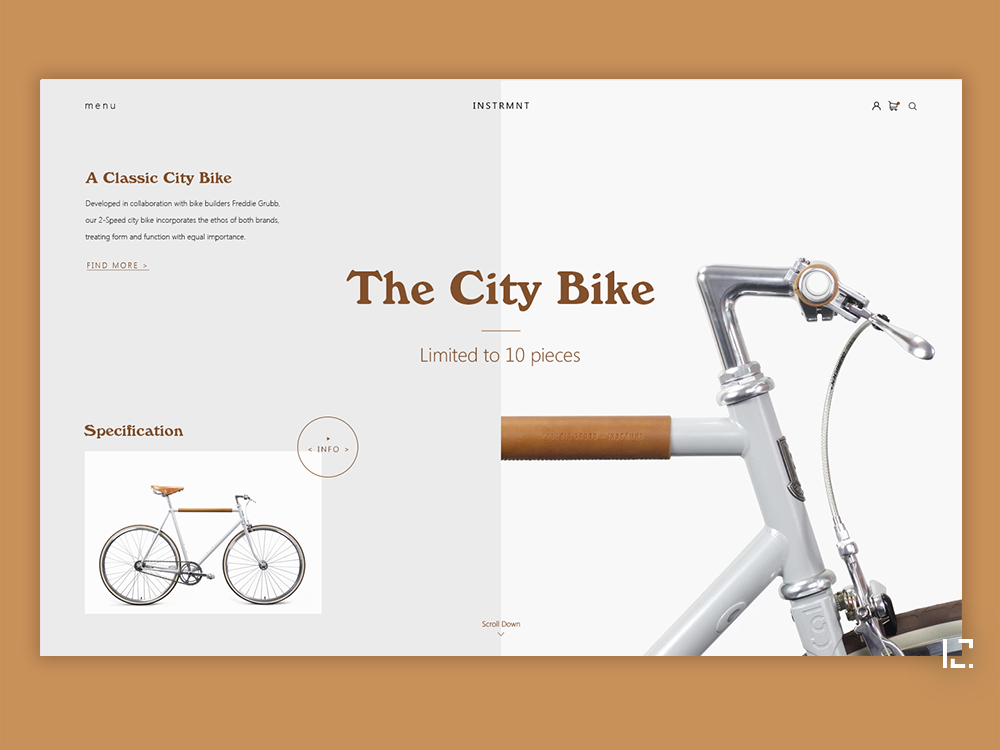 The City Bike concept fashion clean uiux typography website creative minimal web ux ui design