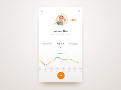One X — Dashboard product design ios app visual ui