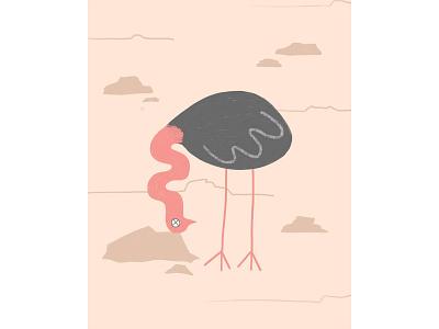Oops! african animals africa bird illustration bird postcard digital painting ostrich illustration