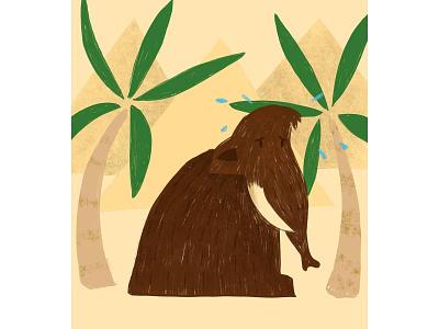 Mammoth earth digital painting palm tree giza pyramids mammoth animal illustration animal art animal illustration
