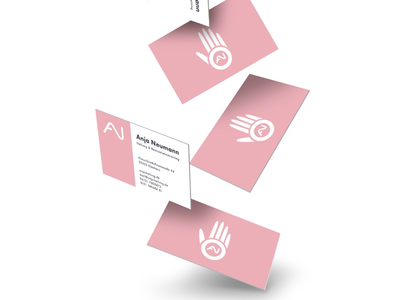 The branding project logo applied on Business cards ui cd ci pink mockup businesscards initials handlogo brandidentity branddesign branding logo