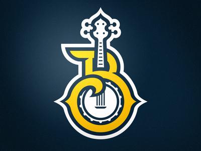 Biloxi Bluegrass Primary bluegrass biloxi sports logo sports monogram b banjo branding brand logo sphl hockey