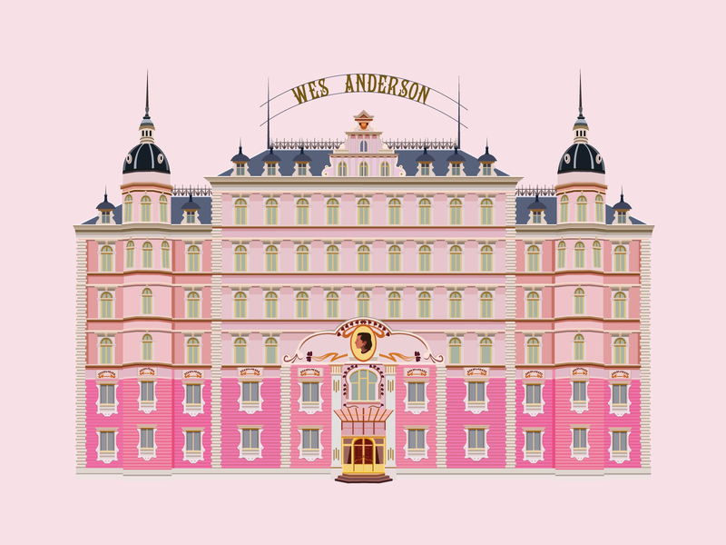 The Grand Budapest Hotel pink palace hotel the grand budapest hotel wes anderson flat vector design illustration