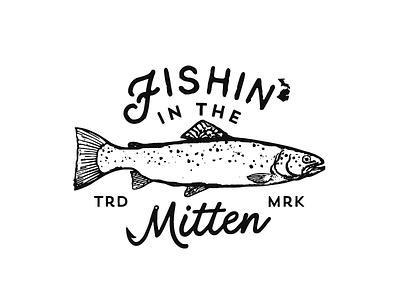 Fishin' in the Mitten script fish logo