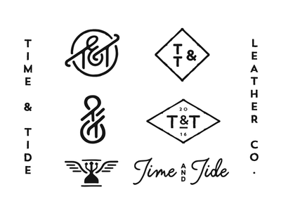 Time and Tide logo script concept monogram tt