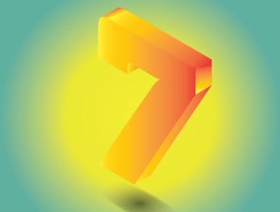 Isometric illustration of number 7