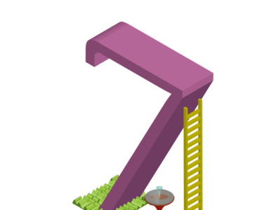 Isometric illustration of number 7