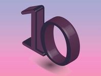 Isometric illustration of number 10