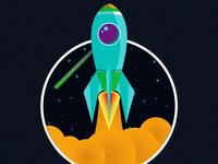 Escape rocket vector planet mundo universe space world monde minimal illustration digital