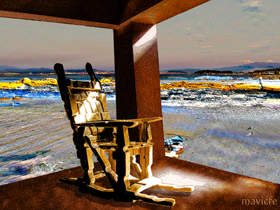 Rest Time On The Seashore mavicfe light chair wooden handicraft seashore rest photography painting nature landscape graphic design graphic art digital art composition color beach design illustration photoshop