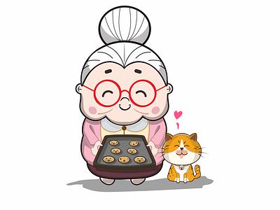 Granny with her cat logo illustrator vector artwork illustration