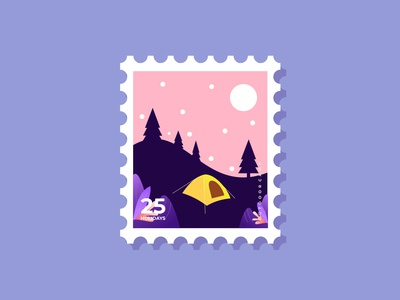 Postage Stamps design for Camping Activity