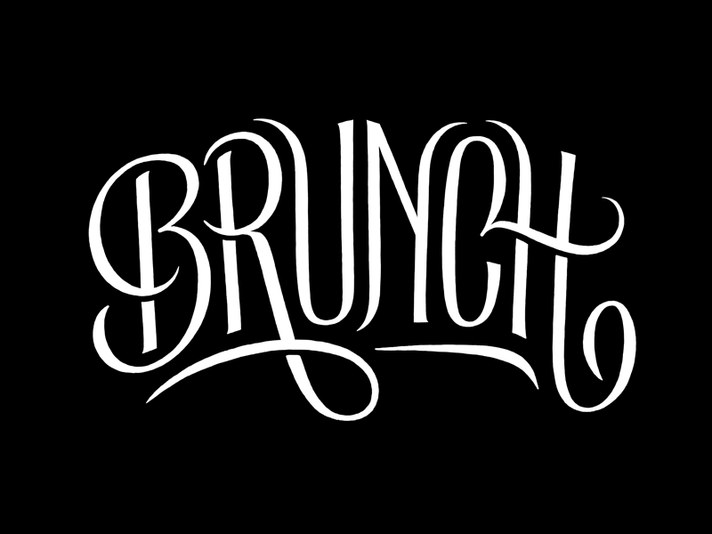Brunch typography lettering hand-drawn swashes brunch food simon ålander coffee made me do it