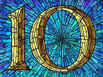 10 lettering typography stained glass 10 ten number numeral