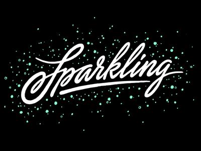 Sparkling lettering script sparkling