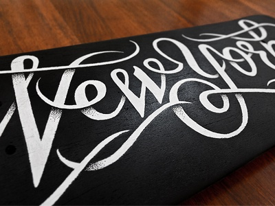 New York skateboard typography script skateboard deck new york simon ålander coffee made me do it