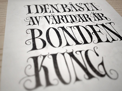 Farmer/king (rough) typography sketch inked serif poster quote simon ålander coffee made me do it