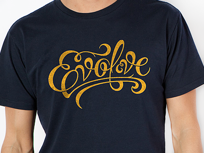 Evolve Tee typography script t-shirt tee design ligatures swashes made in the now mitn evolve simon ålander coffee made me do it
