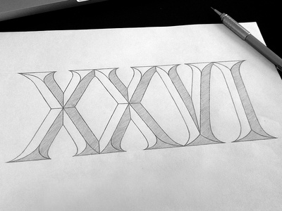 XXVI (sketch) typography hand-drawn lettering roman numerals sketch simon ålander coffee made me do it