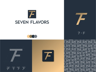 Seven Flavors Brand Concept alphabet luxury brand spices spicy food tasty flavors number 7 number letter f logo concept logo brand identity branding brand