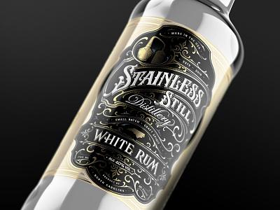 Stainless Still / White Rum whiskey luxury craft distillery rum typography packaging lettering design label