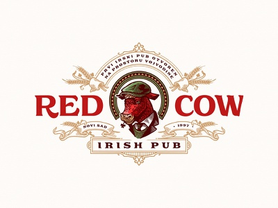 Red Cow Irish Pub beer cow pub irish hand-drawn lettering vintage typography logo illustration new garden society