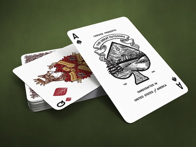 TGO / Ace and Queen nature fox illustration ace of spades cards playing cards