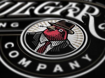 Purple Finch animal bird illustration brewery logo brewing beer
