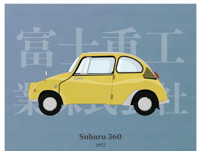 Subaru 360 (1972) illustration paper illustrator poster design classic classic car poster vector clean ui design animation ux ui illustration