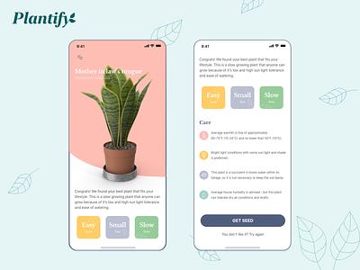 Plantify - grow plant mobile app UI green plant product design mobile app mobile ui uiux mobile app logo clean ui adobe xd design interface ux branding ui illustration