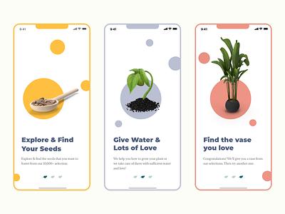 Plantify - Onboarding screen mobile app UI rebound 3d plant typography app clean ui adobe xd design interface ux branding illustration ui
