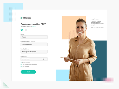 Sign up UI green testimonial testimonials sing up signup typography app shipping clean ui adobe xd design interface ux branding ui
