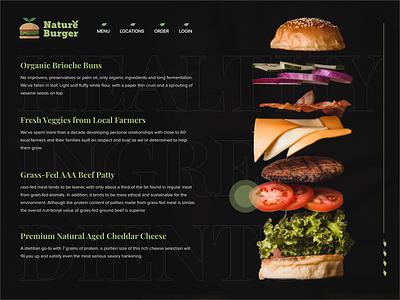 Nature Burger - Burger shop Ingredients UI healthy organic natural recipe ingredient burger icon typography logo clean ui design interface ux branding illustration ui