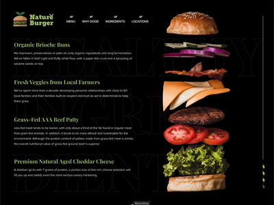 Nature Burger User Interaction - Ingredients protopie5.0 farmers makers restaurant burger animation logo clean ui adobe xd design interface ux branding illustration ui
