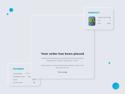 neumorphism in User Interface - Order complete 2020 trends 2020 trend trend checkout online store order confirmation order neumorphic design neumorphism neumorph vector animation clean ui design interface ux illustration ui