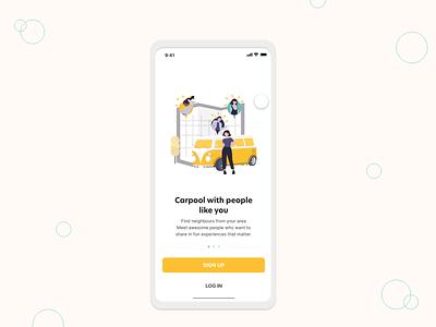Signup UI for ride-sharing app animation app adobe xd clean ui design interface branding ux illustration ui