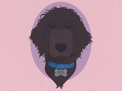 Bennie the Goldendoodle vector goodlendoodle dog pink character art character art design sketch illustrator illustration