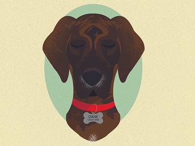 Dane the Great Dane yellow dog illustration dog vector art character art character sketch illustrator design illustration