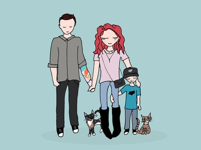 Family Illustration cats family kid sketch illustration