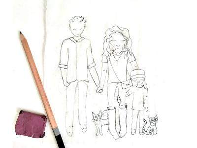 Family Sketch illustration cat kid family sketch paper pencil