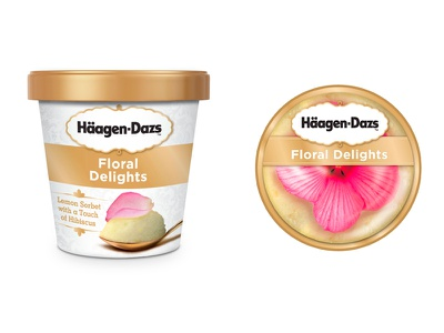 Haagen Daz concept for Floral Ice Cream mockup typography package design