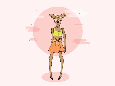Deer pencil sketched fashion design character illustrations deer