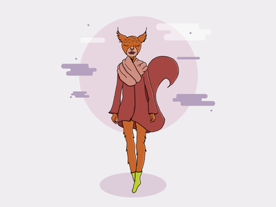 Miss Red Squirrel squirrel character art illustration sketch