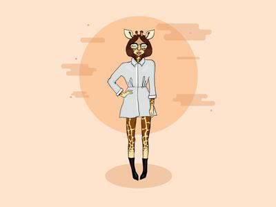 Giraffe Girl fashion sketch pencil art illustration character