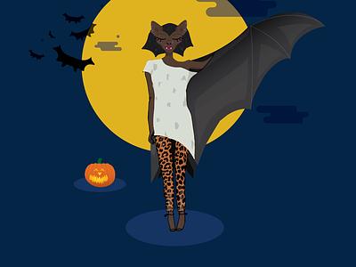 Bat Girl halloween fashion bat vector ai illustration