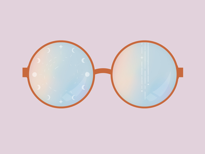 See the universe through rainbow colored glasses. moon stars pink design illustration universe reflection rainbow glasses