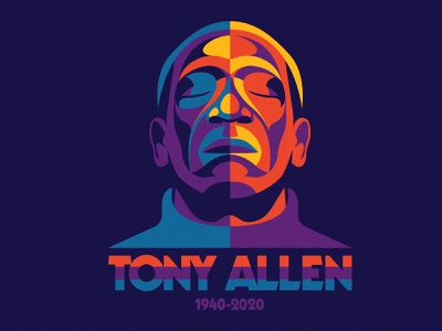 Tony Allen (1940-2020) portrait illustration musician music rest in peace lagos fela kuti drummer drums african music nigeria africa afrobeat tony allen