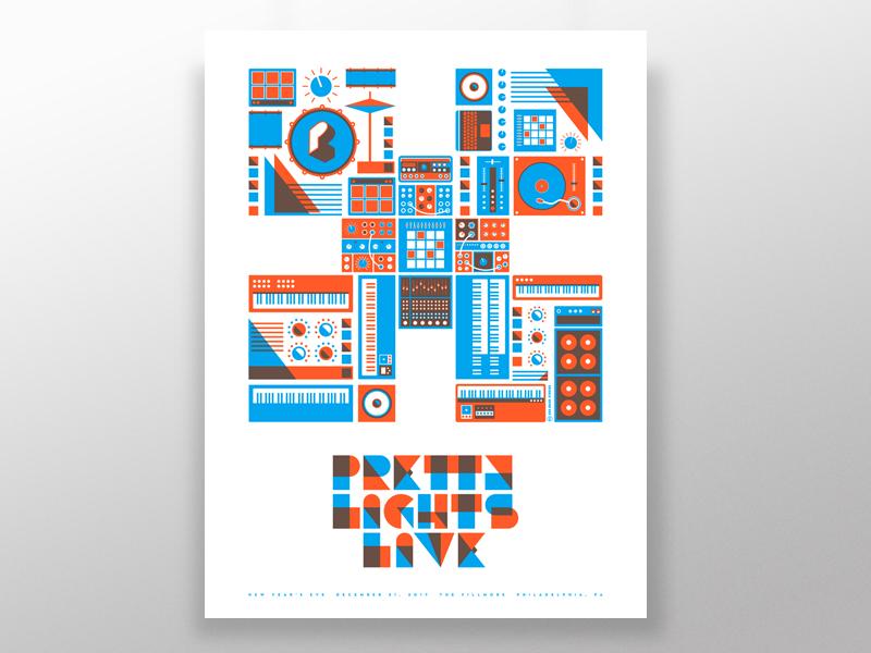 Pretty Light poster design screenprint illustration design gig poster