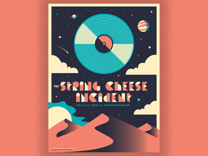 "String Cheese Incident ""Desert Dawn"" conscious alliance screenprint illustration design gig poster"