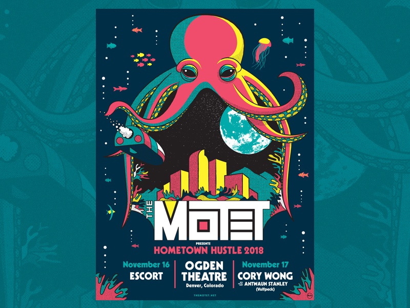 The Motet - Hometown Hustle 2018 silk screen surreal trippy colorado screenprint illustration design gig poster